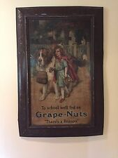 Vintage Antique Grape Nuts Cereal General Store Metal Self Framed Tin Sign DL