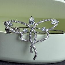 18k white gold plated made with Swarovski crystal butterfly hair clip Accessory