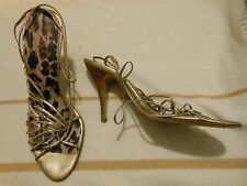 Ladies Dolce & Gabbana gold metallic strappy stiletto slingbacks sandals EU 38