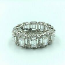 Round Cubic Zirconia Elegant Wedding Band Gorgeous Emerald Cut 3.48Ct and 0.86Ct