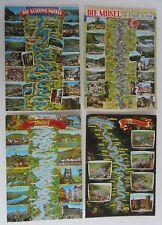 Postkarten Topographie Lot 4 AK Landkarten Fluss Verlauf der MOSEL River; ~1970