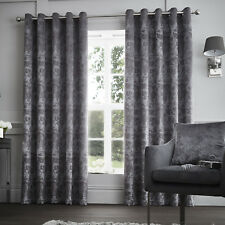 Luxury Velvet Suede Eyelet Lined Curtains Graphite