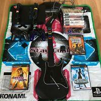 PlayStation 2 Fat Console PS2 Bundle w/1 Guitar 2 Controllers Dance Mat 10 Games