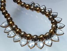 Vintage Crystal Heart Dangle Bib Collar Necklace Heavy Silver Brass Ball Bead