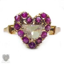 Victorian antique heart 0.45ct rose cut diamond & natural ruby engagement ring