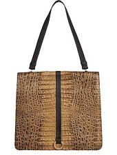 GENNY Womens Handbag Leather Crocodile Embossed Brown Bronze