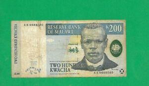MALAWI BANKNOTE , 200 KWACHA , YEAR  1997 , *AB* PREFIX, TREAT