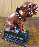 LARGE BROWN BULL DOG SHAPED HEAVY CAST IRON TOY COIN SAVINGS MECHANICAL BANK