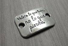 Spanish Quote Pendant Connector Antiqued Silver Link Charm VALUE WHAT YOU HAVE