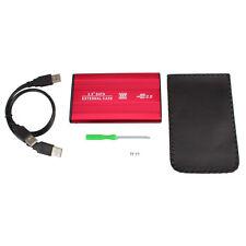 "2.5"" SATA USB 2.0 Hard Disk Drive HDD IDE External Enclosure Case Aluminum Red"