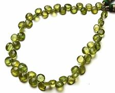 """Natural Gem Bottle Green Apatite 6 to 7MM Approx. Heart Shape Briolette Beads 9"""""""