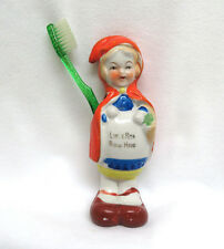 Vintage 1930's Japan Porcelain Figural Toothbrush Holder  Little Red Riding Hood