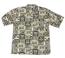 OP Hawaiian Mens Shirt size XL Sword Fish Tiki Statue Aloha Olive Green - 20466