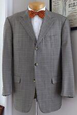 Pal Zileri Wool Silk Sport Coat 44R 45R Gray Glen Plaid Blue Check Jacket Repair