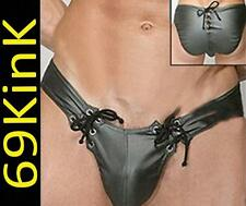 H39 Wetlook PVC Wrestling Male Supporter Lace up Brief All in One Shorts Gay