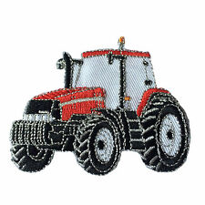 Embroidered Red Tractor Farming Sew or Iron on Patch Biker Patch