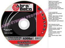 DISCO ABRASIVO * ABRA BETA * DA TAGLIO SMERIGLIATRICE 115 X 3,2mm ACCIAIO  25PZ