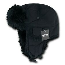 Black Aviator Bomber Faux Fur Winter Ski Trooper Trapper Ear Flap Hat Cap S/M