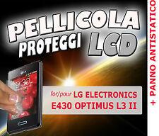 Pellicola protezione LCD display per LG E430 OPTIMUS L3 II + PANNO ANTISTATICO