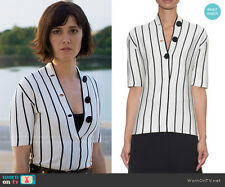 Balenciaga Women's Black V-neck Striped Silk-knit Blouse Size 42