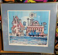 Fred Bonn Limited Edition Hand Signed Print \u201cBlimp City\u201d Framed Lithograph