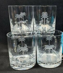 ~~ Christian Dior Casablanca Old Fashioned Glasses ~ Leopard Palm Tree Pattern ~