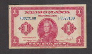 1 GULDEN VERY FINE BANKNOTE FROM GERMAN OCCUPIED NETHERLANDS 1943 PICK-64