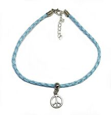 Gypsy Surf Anklet Blue Plaited Leather Peace Symbol 26cm Med Australia Made