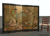 Vintage Asian Chinese Gold Chinoiserie Six Panel Screen Room Divider w Ducks