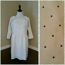 Compania Fantastica $55 Ivory & Black Stars Dress XL 3/4 Sleeve Modcloth Retro