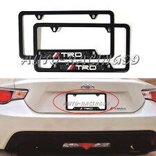 2Pcs JDM TRD Black Stainless Steel License Plate Frame Carbon Fiber Emblem
