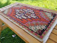 "Beautiful Vintage 1950-1960's Wool Pile,1'7"" x 2'11"" Vegy Dye Oushak Rug"