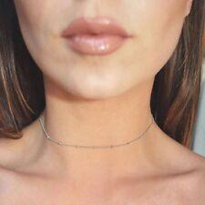Plata Cadena Collar corto de pequeñas cuentas delicado Gargantilla