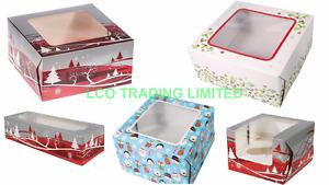 "Christmas Cake Log Box 6"", 8"", 10""  & 6 Cupcake Boxes Mince Pie"
