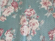 Beautiful Vintage 1940's Cabbage Roses on Sage Green Nubby Barkcloth Drapes