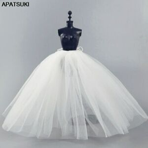 White Slip For Barbie Doll Petticoat Wedding Dress Underskirt Clothes Outfit 1/6