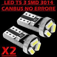 2 LAMPADE T5 3 LED 3014 SMD CANBUS NO ERROR QUADRO STRUMENTI CRUSCOTTO BIANCO