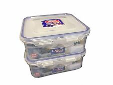 LOCK & LOCK Airtight Plastic Containers 870ml Pack of 2 HPL823 Square Short