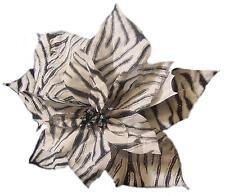 "11"" Diva Safari Black and White Zebra Print Flower Clip On Christmas Ornament"