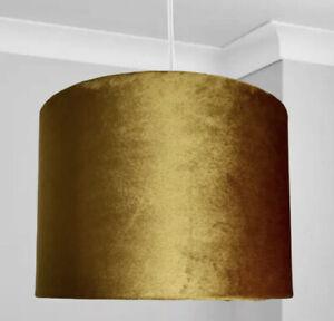 New HQ Luxury Mustard Velvet Lamp Shade Pendant With Bronze Inner Effect  30cm