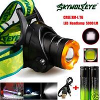 5000LM CREE XML T6 Headlamp HeadLight LED Rechargeable 18650 Battery USB Charger
