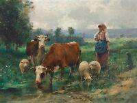 """1915- Julien Dupre, Cows, Sheep, Farm, Landscape, antique decor, 20""""x16"""" Art"""