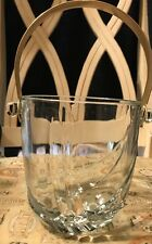 "Vintage Crystal Glass Gold Handle Small Ice Bucket 5 x 4.5"" Made In Italy"