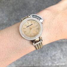 Anne Klein Watch * 1906TMGB Tan MOP & Gold Steel Chain Bangle Women COD PayPal