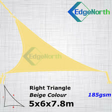 Heavy Duty Right Triangle Shade Sail Outdoor Canopy Awning Sand Beige 5x6x7.8m