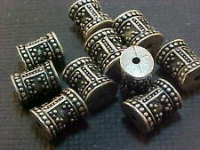 Vtg 25 SILVER COLOR METAL THICK ORNATE COLUMN SPACER BEADS SOLID! #020712f
