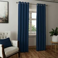 """CLEARANCE Navy Hudson Plain Lined Eyelet Curtains Blockout Pairs 46"""" x 72"""""""