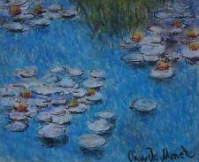 Impressionist original pastel, Water lilies painting, signed Claude Monet w COA