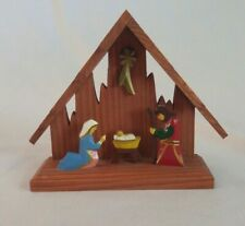 HANDMADE Folk Art Wooden NATIVITY Scene Made in POLAND Creche Manger HANDPAINTED