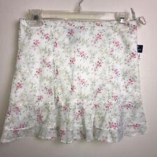 Ralph Lauren Pink Yellow Floral Ruffle Lightweight Cotton Skirt Size 10 New Tag
